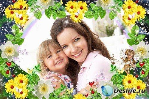 Красивая рамка с весенними цветами - Восторг
