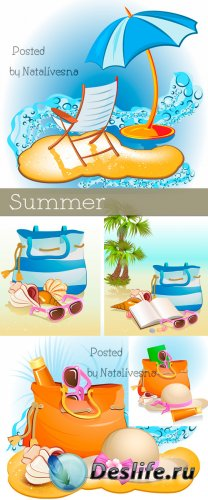 Лето, пляжная сумка, очки на песке в Векторе / Vector - Summer, beach bag,  ...