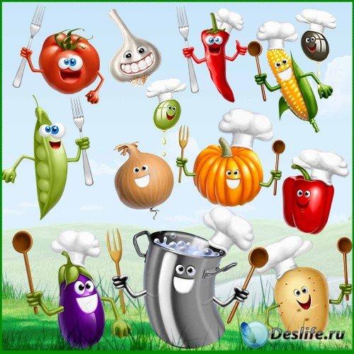 Клипарт - Готовим обед c веселыми овощами