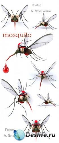 3D Комарики на белом фоне / 3D Mosquito - Stock photo