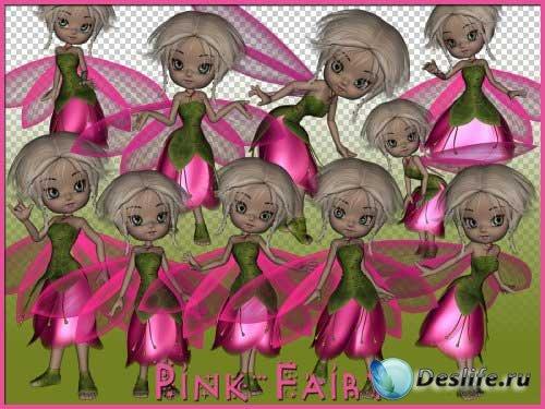 Сказочный набор с феями для скрапбукинга - Розовые феи