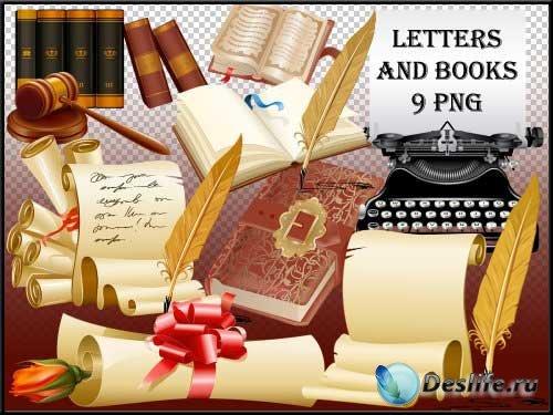 Канцелярский набор для скрапбукинга - Письма и книги