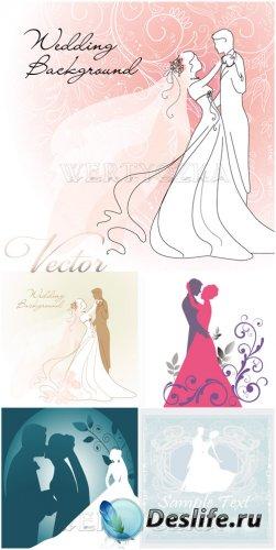 Свадебные векторные фоны / Wedding backgrounds, bride and groom, wedding