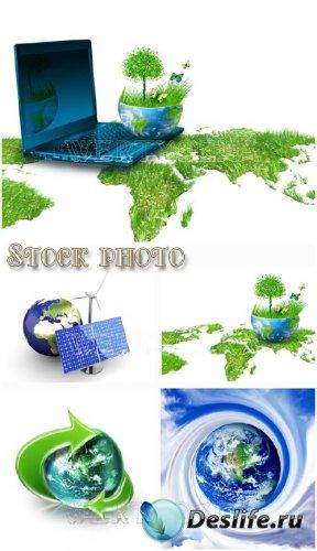 Зеленая планета / Green planet, creative, nature - Raster clipart