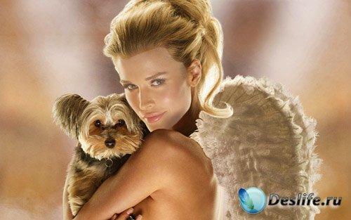 Костюм для девушек - Девушка с крыльями ангела и собачкой