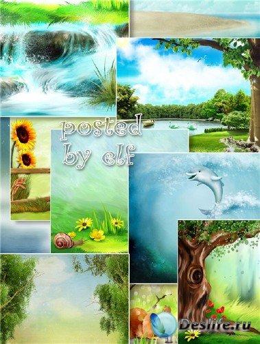 Сказочные пейзажи - детские фоны для дизайна