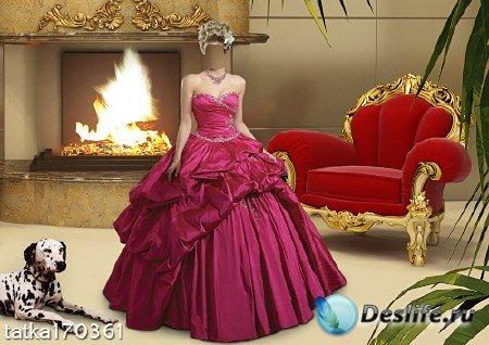 Женский костюм - Девушка в малиновом платье с собакой