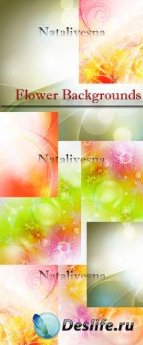 Цветочные фоны в Векторе / Flower backgrounds in Vector