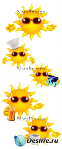 Летнее солнышко на белом фоне / Summer sun on white background - Stock phot ...
