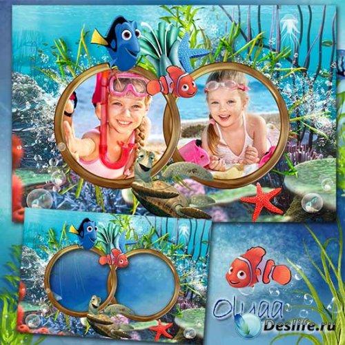 Детская морская рамка для фотошоп с героями м/ф «В поисках Немо»