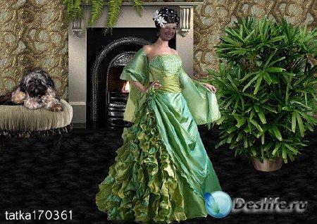 Женский костюм для фотошопа - Девушка в зелёном платье у камина