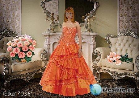 Женский костюм для фотошопа - Девушка в оранжевом платье с розами