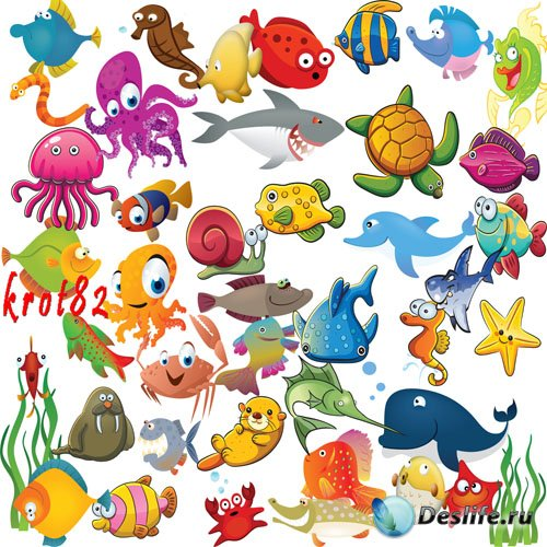 Нарисованный детский клипарт – Рыбы, акулы, осьминоги и другие морские обит ...