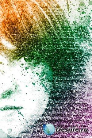 Видеоурок для фотошопа - Создаем акварельно-текстовый портрет
