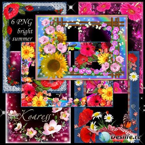 Набор из 6 цветочных рамок для летних фото - Яркие цветы