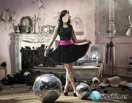 Костюм psd женский - Креативная фотосессия девушка в черном платье