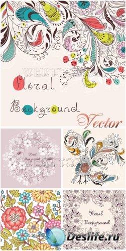 Цветы и орнаменты в векторе / Background with flowers and ornaments - vecto ...