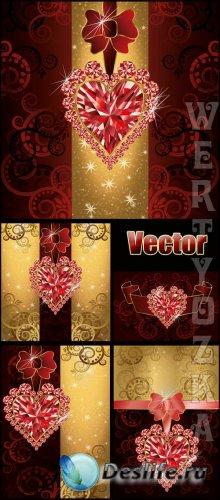 Векторные фоны с драгоценными сердечками / Vector backgrounds with precious ...