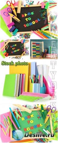 Школьные принадлежности / School supplies - Raster clipart
