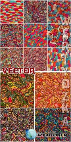Векторные фоны с разноцветными узорами / Vector Background with colorful de ...
