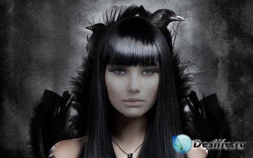 Костюм для фотошопа - Загадочная девушка с воронами