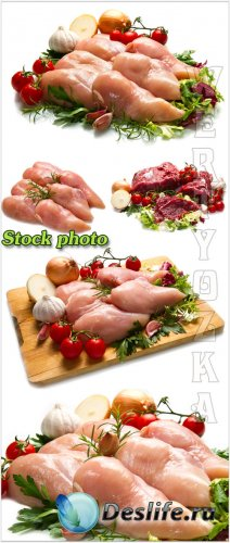 Мясо с овощами и зеленью на белом фоне / Meat with vegetables and greens on ...
