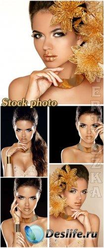 Гламурная девушка с золотыми цветами / Glamour girl with gold flowers - Ras ...