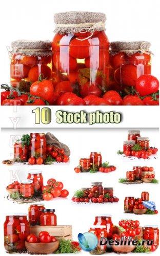 Консервация помидор, свежие помидоры / Canned tomatoes - Raster clipart