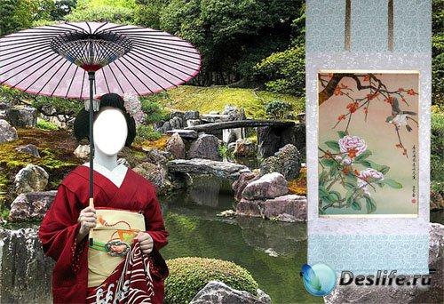 Костюм Гейша в красном кимоно в саду камней
