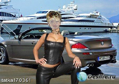 Женский костюм для фотошопа - Девушка в кожаном костюме