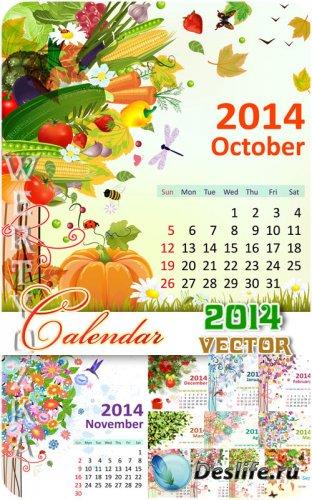 Календарь на 2014 / Calendar for 2014 - vector clipart