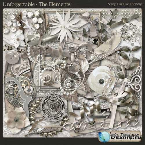 Серебристый винтажный скрап-комплект - Неповторимый