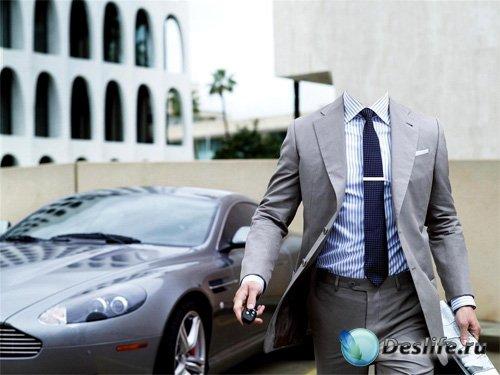 PSD костюм - Миллионер в костюме на отличном Мазерати