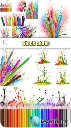 Цветные карандаши,  брызги краски / Colored pencils, splashes paint - Raste ...
