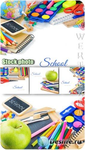 Школьный растровый клипарт, карандаши, краски, тетрадки, глобус / School  r ...
