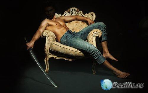 Костюм для фотомонтажа - Парень на кресле с катаной в руках