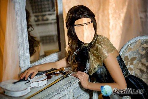 Костюм для photoshop - Брюнетка в платье у зеркала
