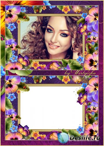 Рамка для фотошопа - Ковёр из разноцветных лепестков, анютины глазки