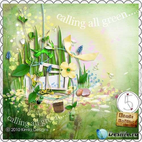 Цветочный скрап-комплект - Призыв зелени
