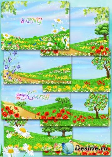 Рисованные летние фоны для фотошопа с яркими цветами