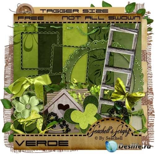 Цветочный скрап-комплект - Зелёный
