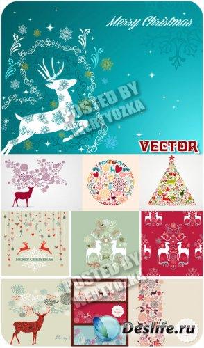 Винтажные новогодние фоны с оленями / Vintage Christmas background - vector ...