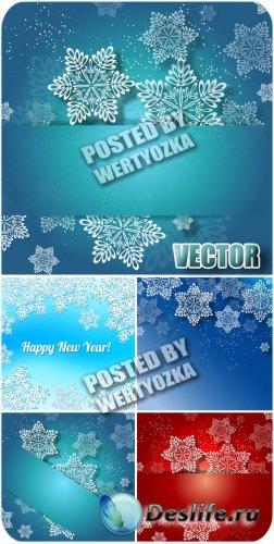 Новогодние фоны с белыми снежинками / Christmas background - stock vector