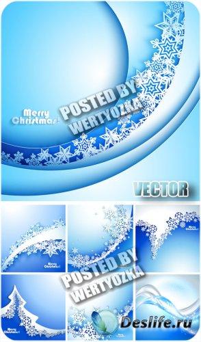 Зимние голубые фоны с белыми снежинками / Winter blue background - stock ve ...