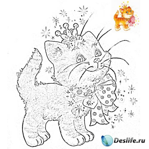 Разукрашка для малышей - Котик с бантиком на шее