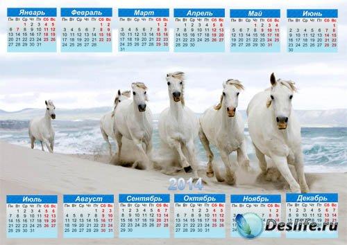 Календарь на 2014 год - Снежнобелые лошадки на пляже