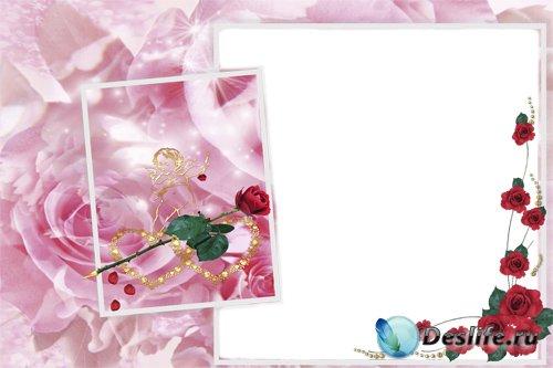 Романтическая фоторамка - Амур и розы