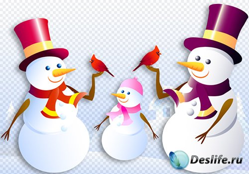 Клипарт - Новогодние снеговики на прозрачном фоне PSD