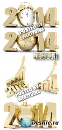 Золотые надписи 2014 / Gold lettering 2014 - stock photos