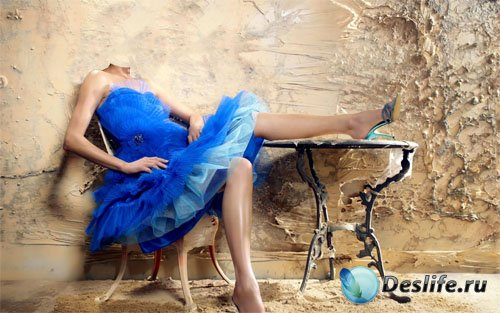 Шаблон для фотошопа - Креативная фотосессия в пышном синем платье